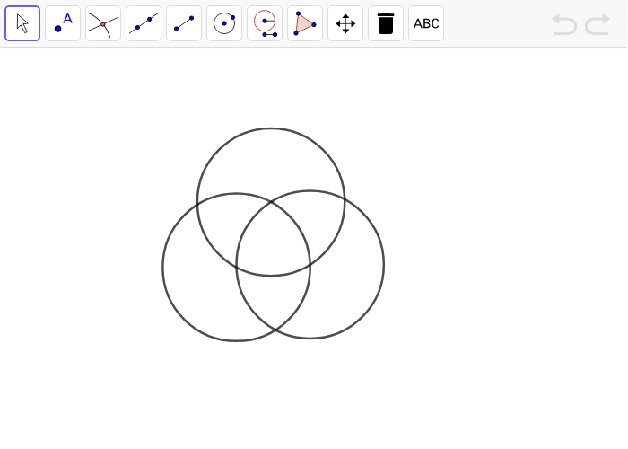 Construct a regular hexagon. The construction has been started for you. Hint: Finish the many-circle diagram! Press Enter to start activity