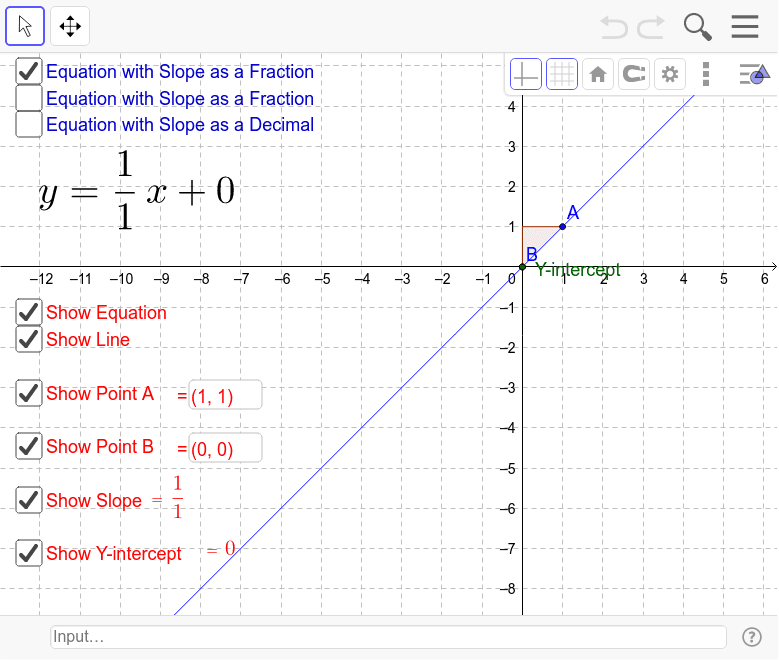 """Use the applet below to graph lines in Slope-Intercept Form. You can grab the """"b"""" point and the """"A"""" point to graph your line and the equation of the line will show up. Press Enter to start activity"""