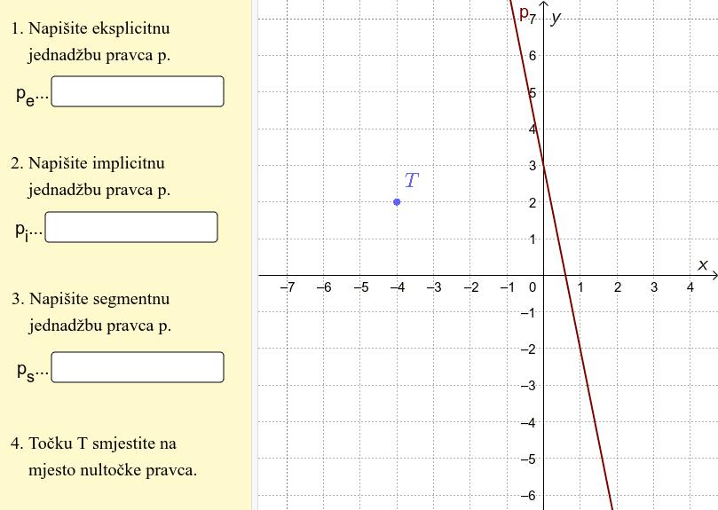 Iz danoga grafa odredite sva tri oblika jednadžbe pravca i točku T pomaknite na mjesto gdje je nultočka pravca. Pritisnite Enter za pokretanje.