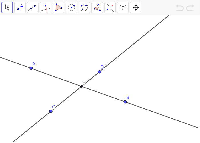 Rotate point B and line AB 180° around point D. Label the new point of intersection F. Press Enter to start activity