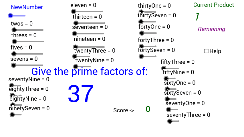 Use the bars to try and find out the factors that make up the number in blue Press Enter to start activity